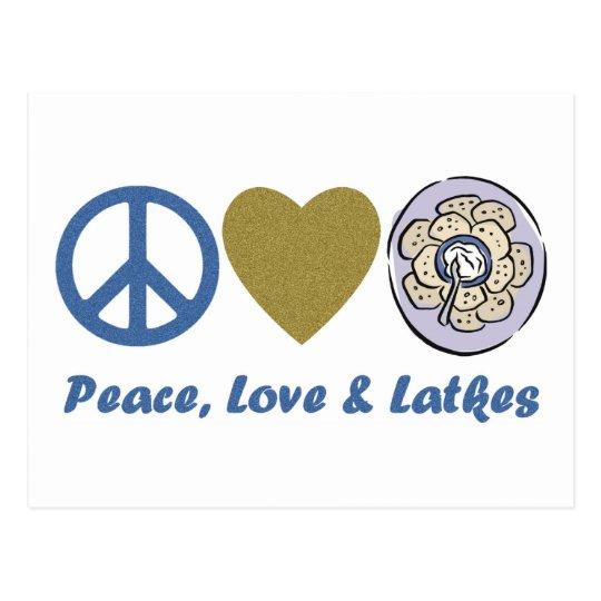 Peace, Love and Latkes Hanukkah Tees and Gifts Postcard
