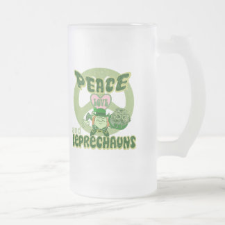 Peace Love and Leprechauns Frosted Glass Beer Mug