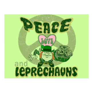 Peace Love and Leprechauns Postcard