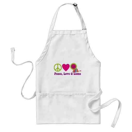 Peace Love and Lions Adult Apron