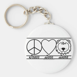 Peace Love and Lions Basic Round Button Keychain