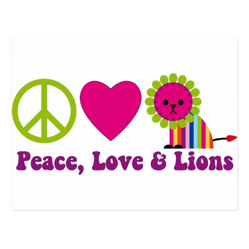 Peace Love and Lions Postcard