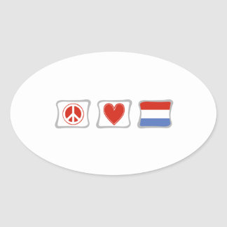 Peace Love and Luxembourg Squares Oval Sticker