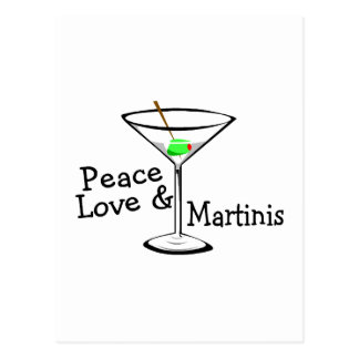 Peace Love and Martinis Postcard