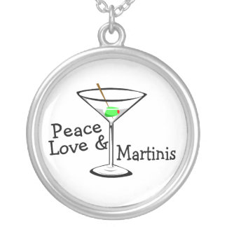 Peace Love and Martinis Silver Plated Necklace