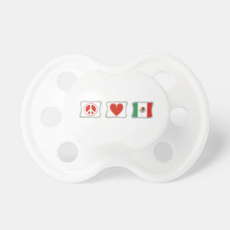 Peace Love and Mexico Squares BooginHead Pacifier