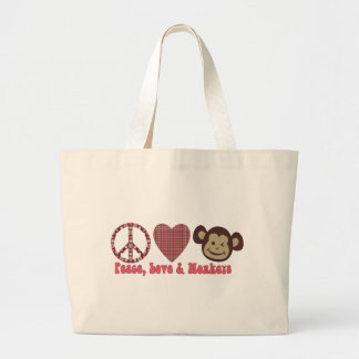 Peace, Love and Monkeys Retro Tees and Gifts Large Tote Bag