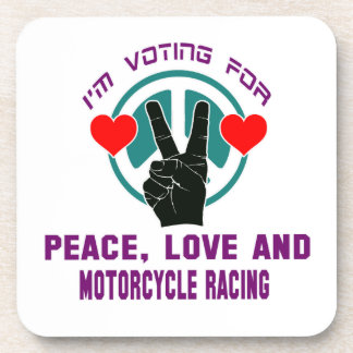 Peace Love And Motorcycle Racing. Drink Coasters