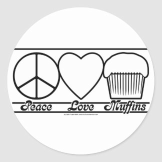 Peace Love and Muffins Stickers