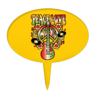 Peace Love and Music Cake Topper