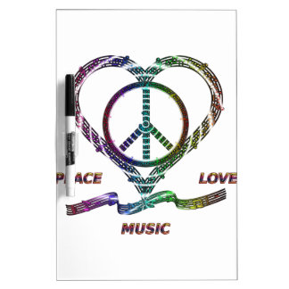 Peace Love and Music Dry-Erase Board