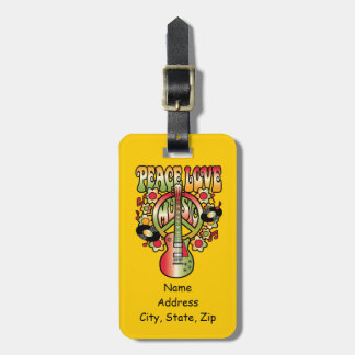 Peace Love and Music Luggage Tag