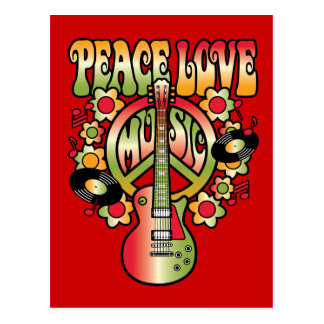 Peace Love and Music Postcard