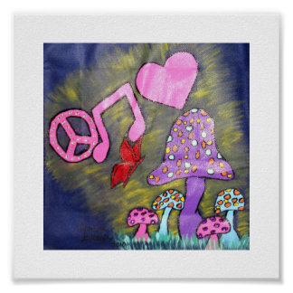 PEACE LOVE AND MUSIC POSTER