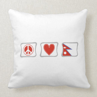 Peace Love and Nepal Squares Throw Pillow