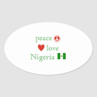 Peace Love and Nigeria Oval Sticker