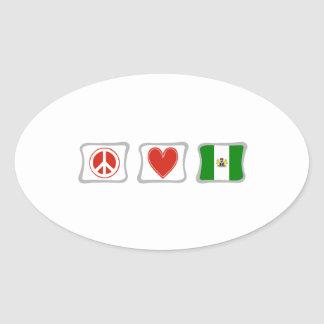 Peace Love and Nigeria Squares Oval Sticker