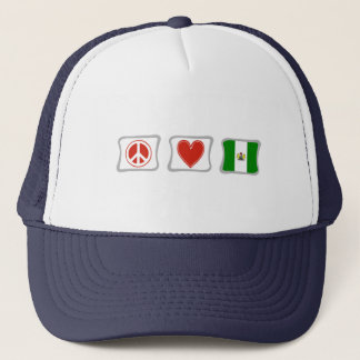 Peace Love and Nigeria Squares Trucker Hat