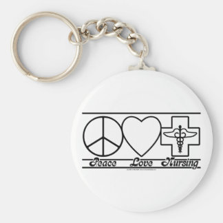 Peace Love and Nursing Keychain