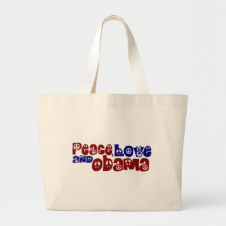 Peace Love And Obama Large Tote Bag