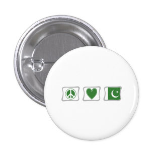 Peace Love and Pakistan Squares Pinback Button