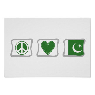 Peace Love and Pakistan Squares Poster
