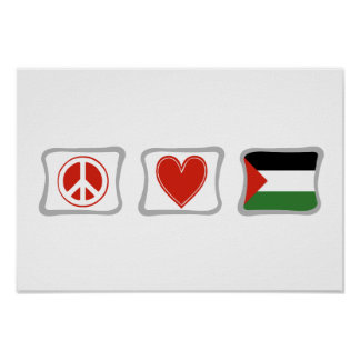 Peace Love and Palestine Squares Poster