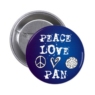 Peace, Love and Pan button