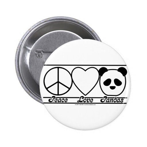 Peace Love and Pandas Button