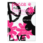 Peace, Love and Party in Hot pink and black Invitations