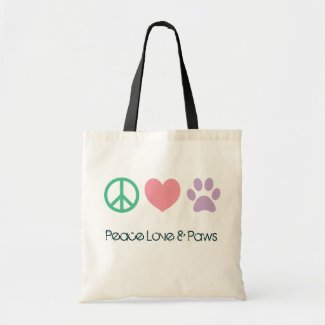 Peace Love and Paws Tote Bag