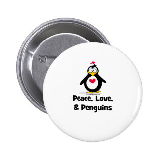 Peace Love and Penguins Button