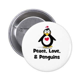 Peace Love and Penguins Pinback Button