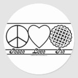 Peace Love and Pie Classic Round Sticker