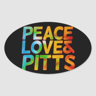 Peace love and pitts oval sticker