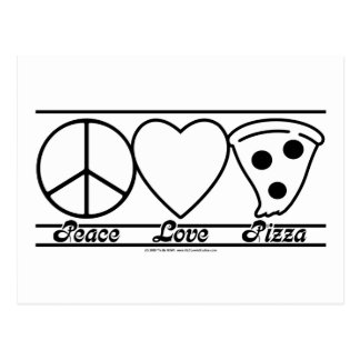 Peace Love and Pizza Postcard