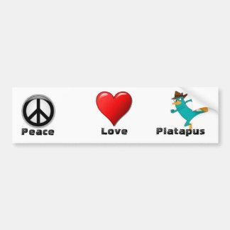 peace love and platypus bumper sticker