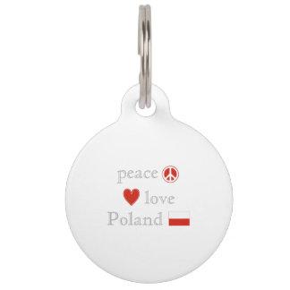 Peace Love and Poland Pet Tag