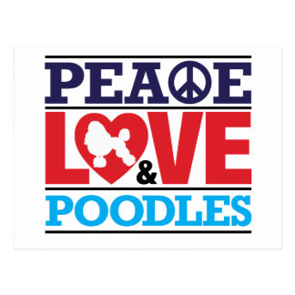 Peace Love and Poodles Postcard