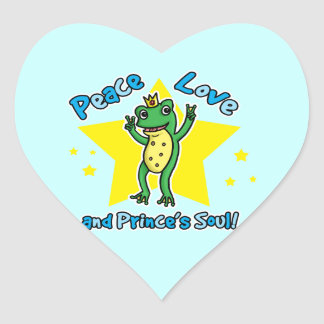 Peace love and Princes' soul frog prince Heart Sticker