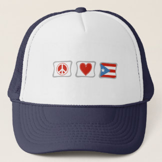 Peace Love and Puerto Rico Squares Trucker Hat