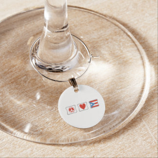 Peace Love and Puerto Rico Squares Wine Glass Charm