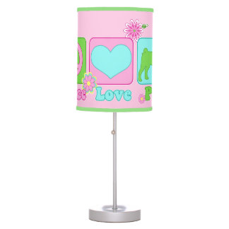 Peace Love and Pug Desk Lamp