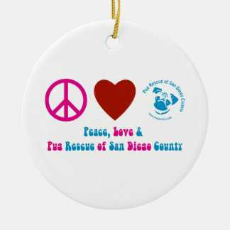 Peace, Love and Pug Rescue of San Diego Co. Double-Sided Ceramic Round Christmas Ornament