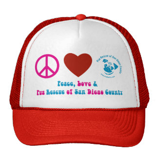 Peace, Love and Pug Rescue of San Diego Co. Hats