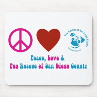 Peace, Love and Pug Rescue of San Diego Co. Mouse Pad