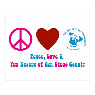 Peace, Love and Pug Rescue of San Diego Co. Postcard