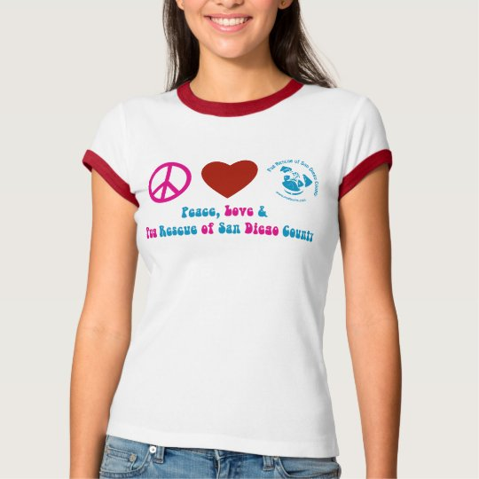 Peace, Love and Pug Rescue of San Diego Co. T-Shirt