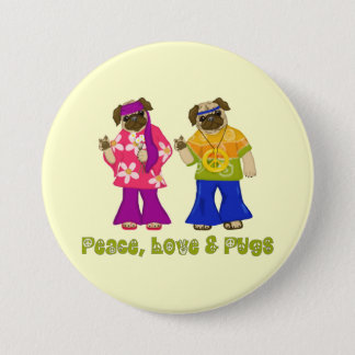 Peace, Love and Pugs Buttons