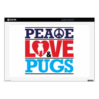 Peace Love and Pugs Decals For Laptops
